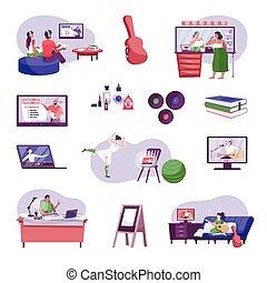 hobbys, ikone, satz, online