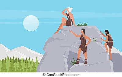 hochklettern, prähistorisches tier, stamm, haut, leute,  steinzeit, höhlenmensch, frau, reizend, gestein