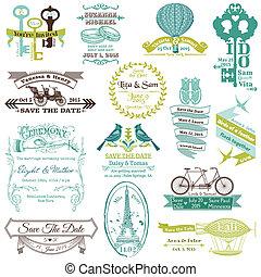 Hochzeit Vintage Invitation Collection - für Design, Scrapbook - in Vektor.