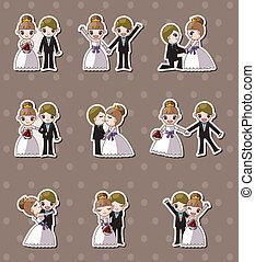 Hochzeits-, Bräutigam- und Brautaufkleber