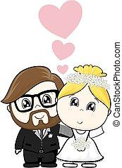 Hochzeits-Cartoon.