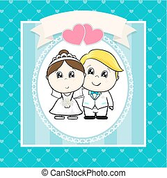 Hochzeits-Cartoon-Einladung.