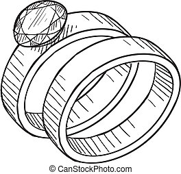 Hochzeits- und Verlobungsring-Sketch