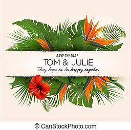 Hochzeitseinladung mit exotischen Blättern und farbigen Blumen. Vector