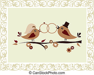 Hochzeitseinladung mit Vögeln