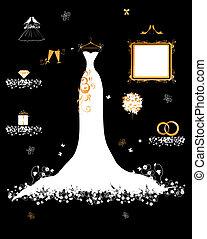 Hochzeitsgeschäft, weißes Kleid und Accessoire