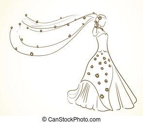Hochzeitskleid mit Blumen im Schleier.