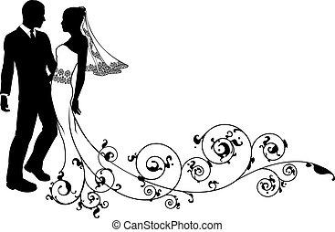 Hochzeitspaar Braut und Bräutigam Silhouette
