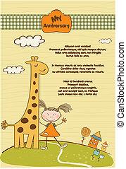 Hochzeitstagskarte mit Giraffe und Mädchen