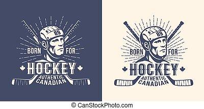 Hockey Retro-Logo mit Spielerkopf und gekreuzten Stöcken