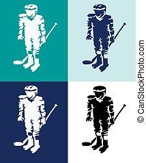 Hockeyspieler Maskottchen Silhouetten