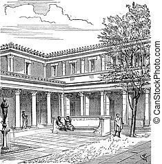 Hofplatz eines römischen Hauses, alte Gravur