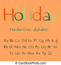 holiday., alphabet., handgeschrieben