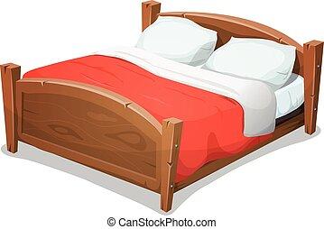 Holz Doppelbett mit roter Decke.