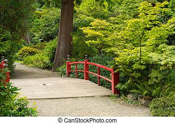 Holz japanische Fußbrücke.