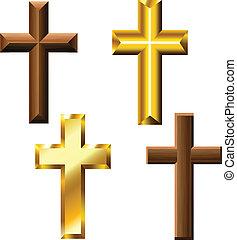 Holz und Goldkreuz.