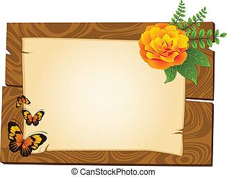 Holzanhänger mit Blumen