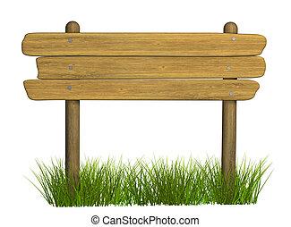 Holzanzeiger von drei Brettern