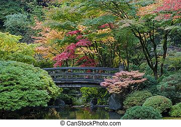 Holzbrücke, japanischer Garten, Backofen, Erzgon.