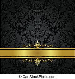 holzkohle, buchdeckel, luxus, gold