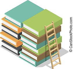 Holzleiter auf Stack Bücher Ikone, isometrische Stil