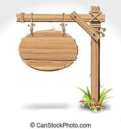 Holztafel mit Seil