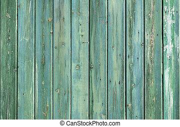Holzwand mit vergossener Konsistenz von blauen grünen Planken.