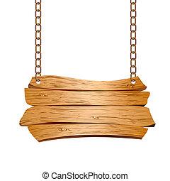 Holzzeichen auf Ketten ausgesetzt