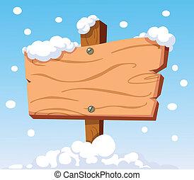 Holzzeichen im Schnee