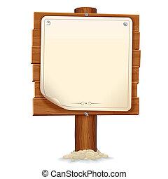 Holzzeichen mit Papierrolle. Vektorbild