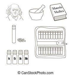 Homöopathie. Vektor-Icons.