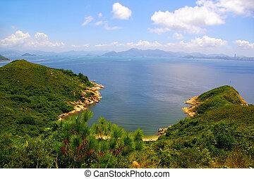 Hong Kong-Landschaft aus den Bergen
