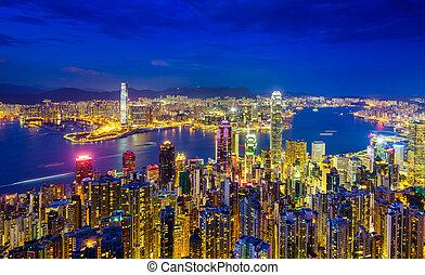 Hong kong Skyline in der Nacht, Porzellan.