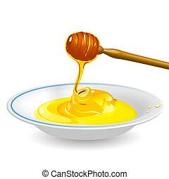 Honig auf Untertasse