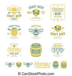 honig, bier, satz, etiketten