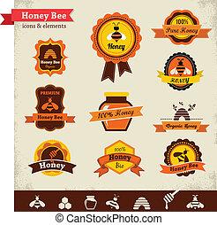 Honigbienenvektor-Etikett fertig