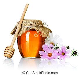 Honigglas über weiß