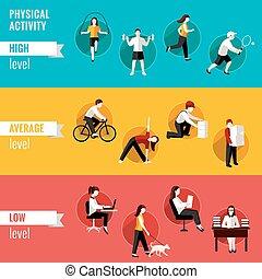 horizontal, physisch, banner, aktivität
