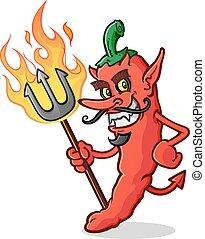 Hot Chili Pfeffer Teufel Cartoon.