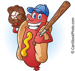 Hot Dog Baseball Cartoon Charakter.