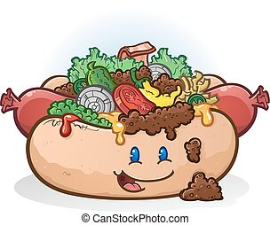 Hot Dog Cartoon Charakter.