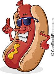 Hot Dog Cartoon mit Sonnenbrille