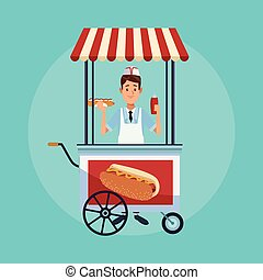 Hot Dog Stand Cartoon.