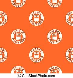 Hot Dog Stand Muster Vektor Orange.