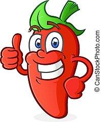 Hot Pepper Cartoon Charakter gibt einen Daumen nach oben.