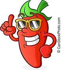 Hot Pepper Cartoon Charakter mit Haltung.