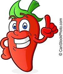 Hot Pepper Cartoon Charakter zeigen.
