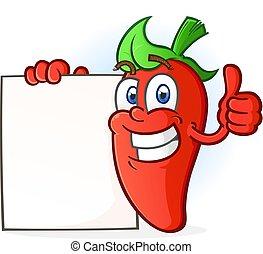 Hot Pepper Zeichentrickfigur mit einem Zeichen.