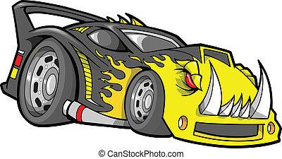 hot-rod, vektor, race-car