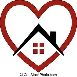 House and heart Vektorlogo.